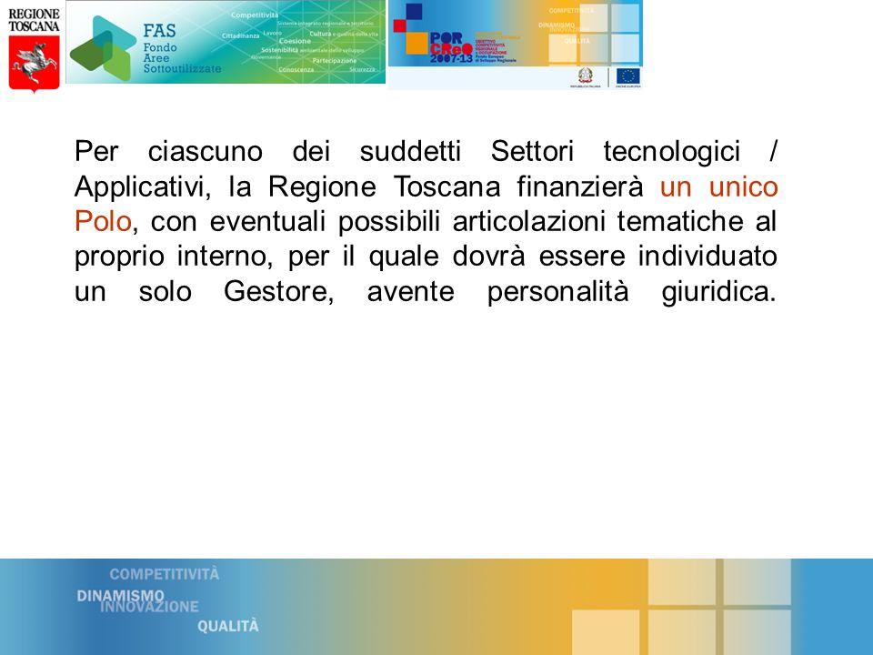 Per ciascuno dei suddetti Settori tecnologici / Applicativi, la Regione Toscana finanzierà un unico Polo, con eventuali possibili articolazioni tematiche al proprio interno, per il quale dovrà essere individuato un solo Gestore, avente personalità giuridica.