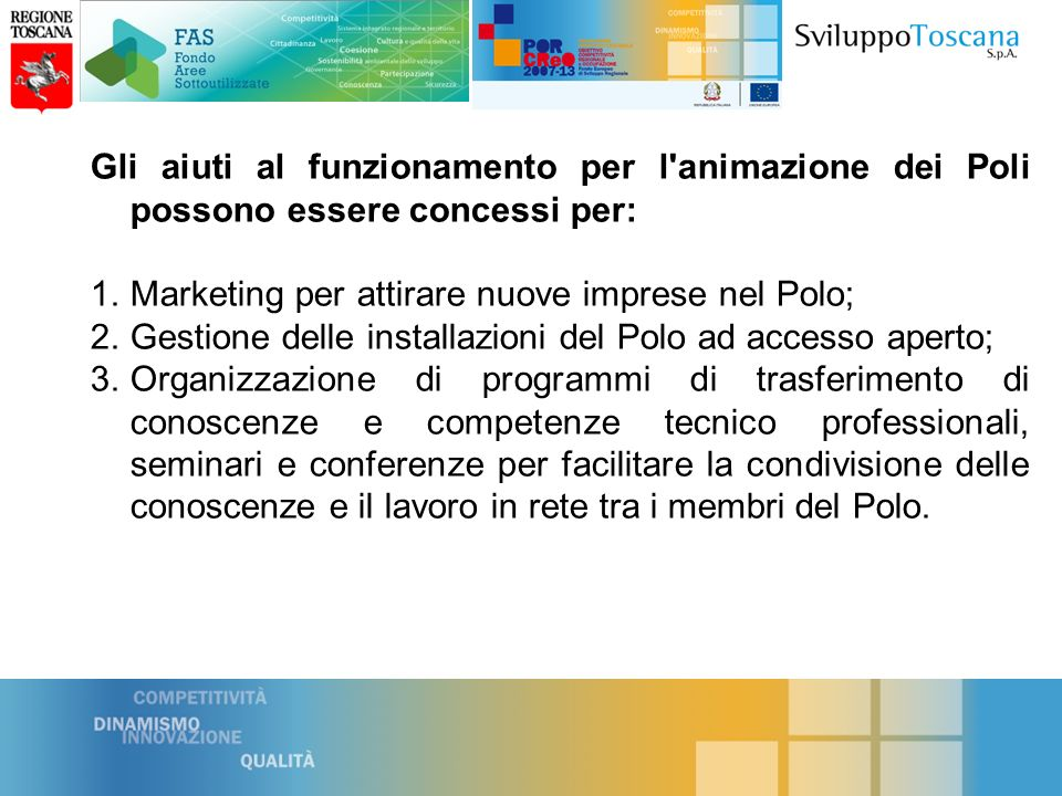 Marketing per attirare nuove imprese nel Polo;