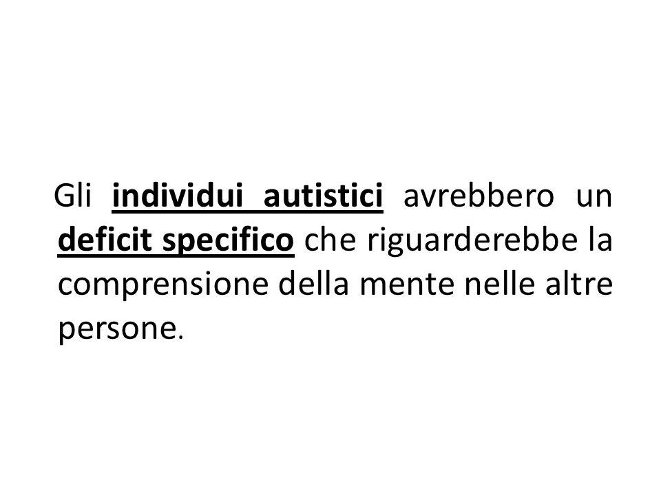 Gli individui autistici avrebbero un deficit specifico che riguarderebbe la comprensione della mente nelle altre persone.