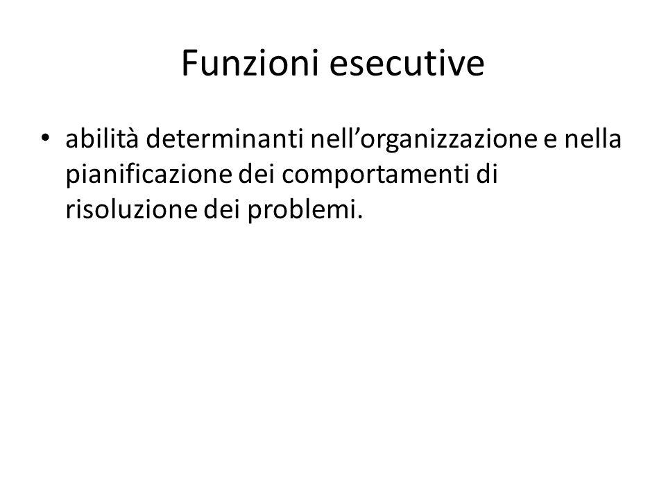 Funzioni esecutive abilità determinanti nell'organizzazione e nella pianificazione dei comportamenti di risoluzione dei problemi.