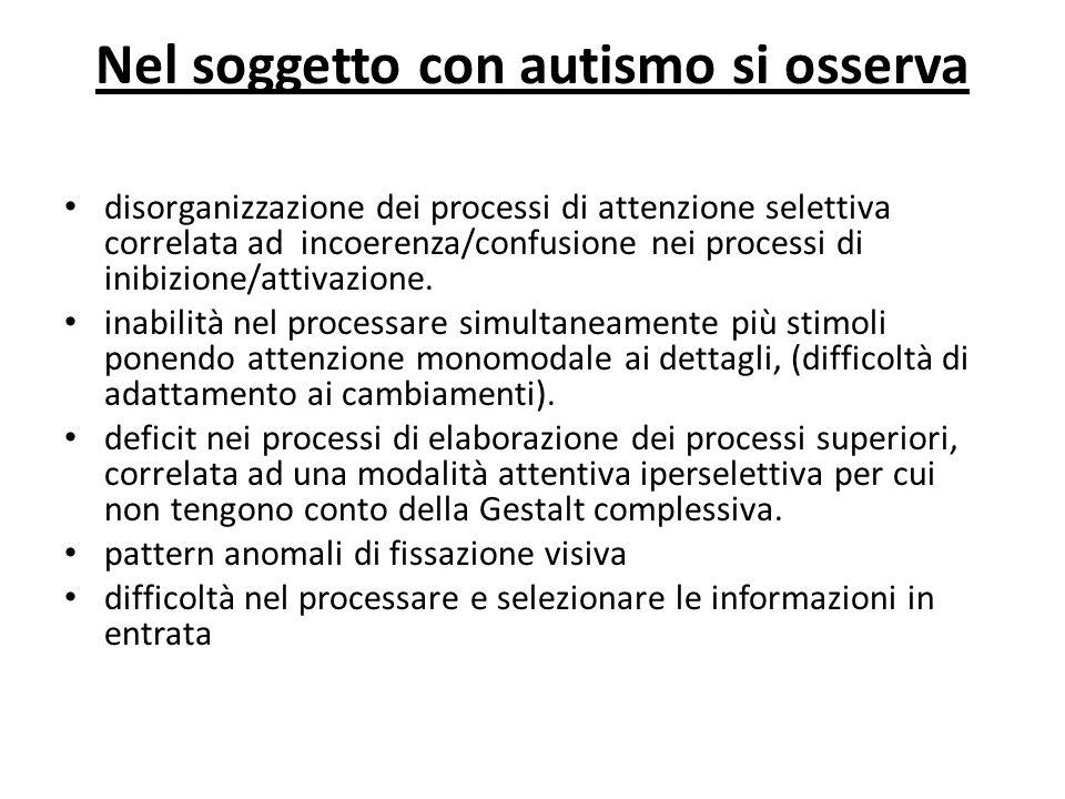 Nel soggetto con autismo si osserva