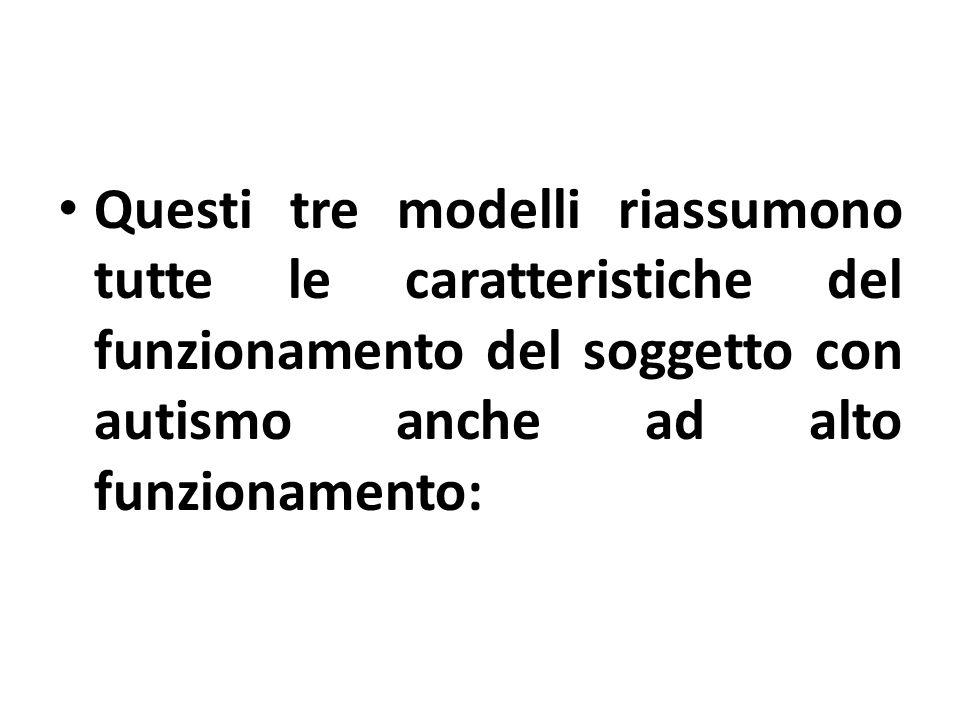 Questi tre modelli riassumono tutte le caratteristiche del funzionamento del soggetto con autismo anche ad alto funzionamento: