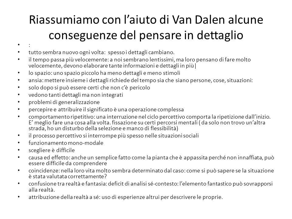 Riassumiamo con l'aiuto di Van Dalen alcune conseguenze del pensare in dettaglio