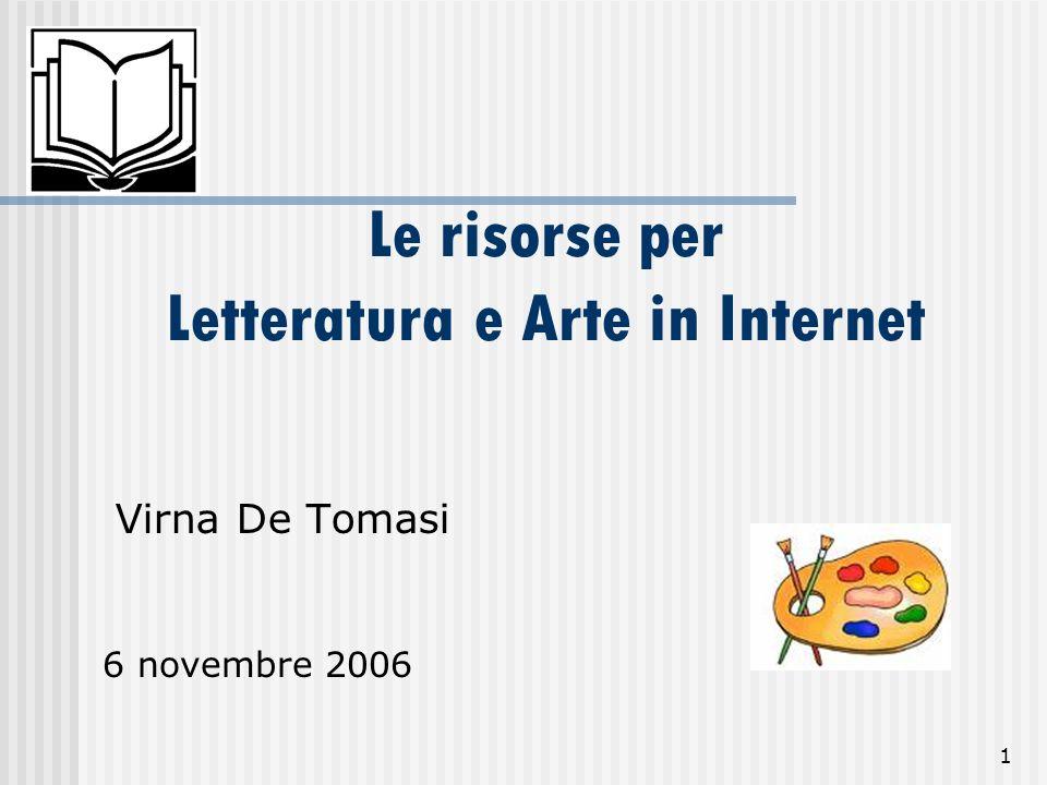 Le risorse per Letteratura e Arte in Internet