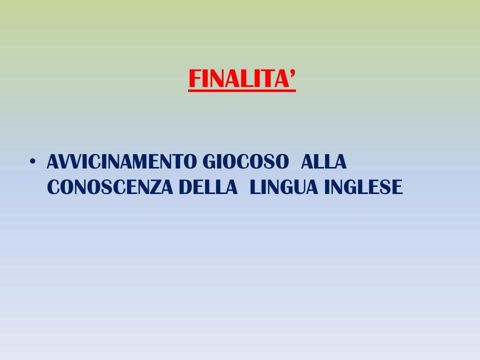 FINALITA' AVVICINAMENTO GIOCOSO ALLA CONOSCENZA DELLA LINGUA INGLESE