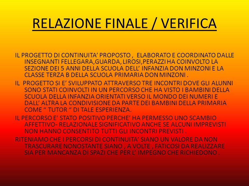 RELAZIONE FINALE / VERIFICA