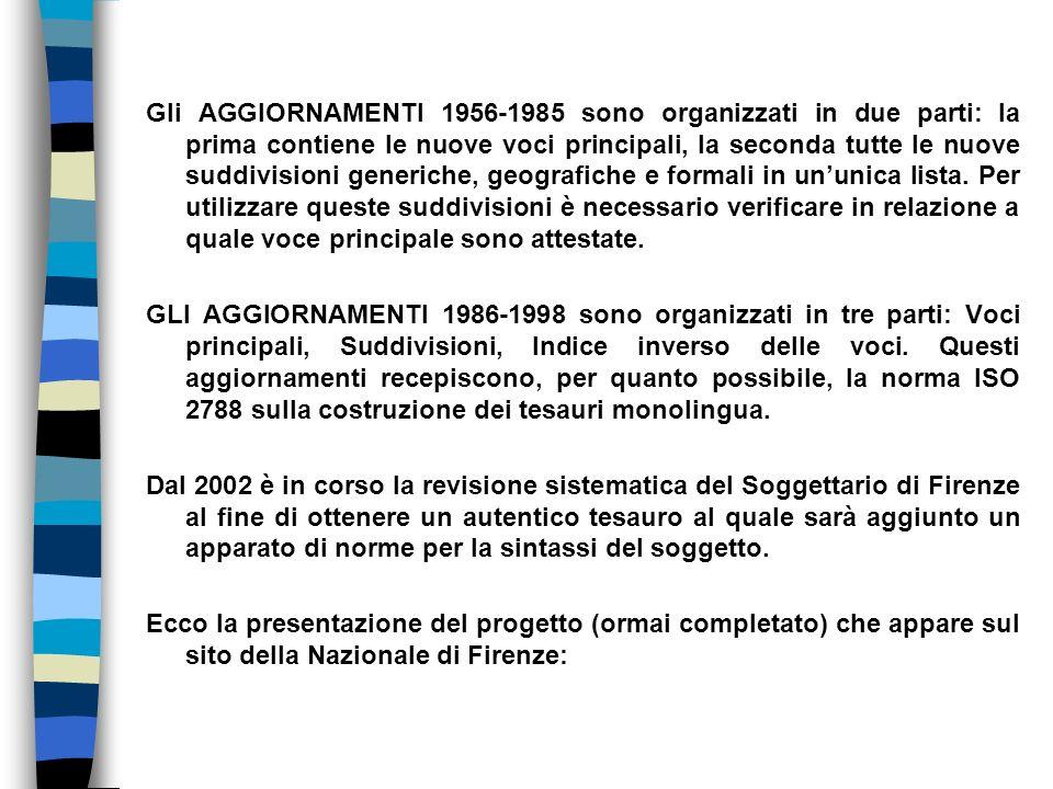 Gli AGGIORNAMENTI 1956-1985 sono organizzati in due parti: la prima contiene le nuove voci principali, la seconda tutte le nuove suddivisioni generiche, geografiche e formali in un'unica lista.