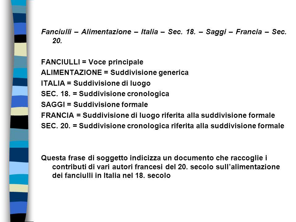 Fanciulli – Alimentazione – Italia – Sec. 18. – Saggi – Francia – Sec