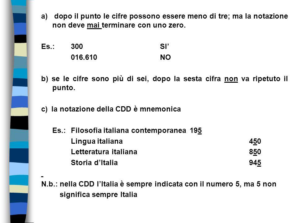 a) dopo il punto le cifre possono essere meno di tre; ma la notazione non deve mai terminare con uno zero.