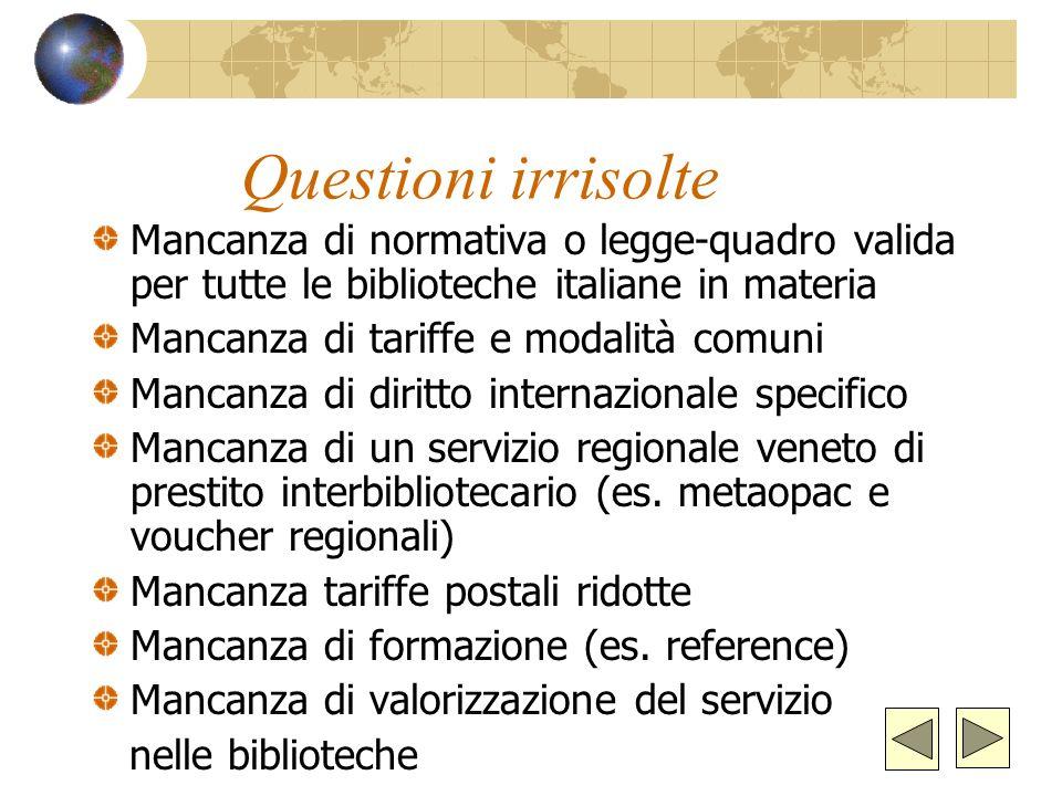 Questioni irrisolte Mancanza di normativa o legge-quadro valida per tutte le biblioteche italiane in materia.