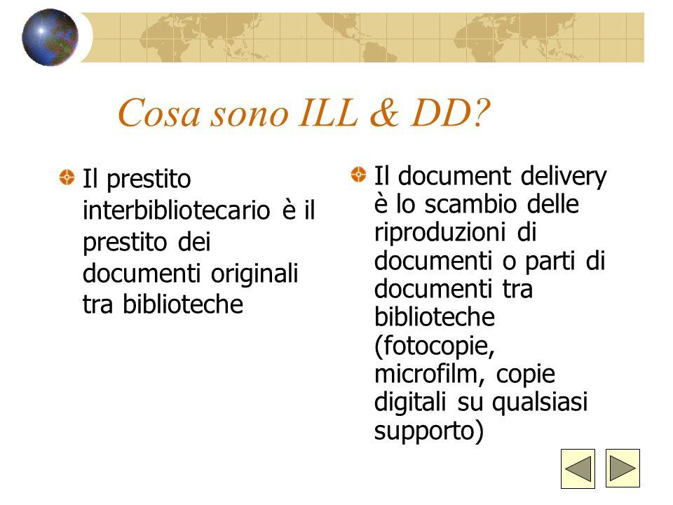 Cosa sono ILL & DD Il prestito interbibliotecario è il prestito dei documenti originali tra biblioteche.