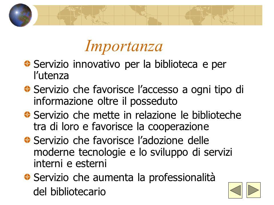 Importanza Servizio innovativo per la biblioteca e per l'utenza