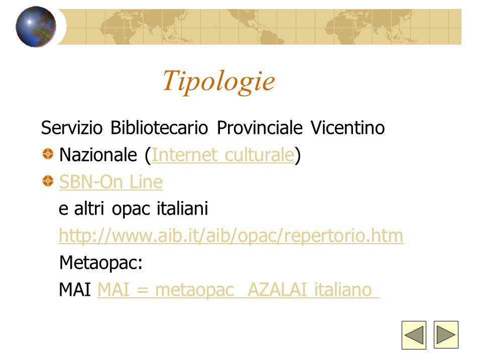 Tipologie Servizio Bibliotecario Provinciale Vicentino