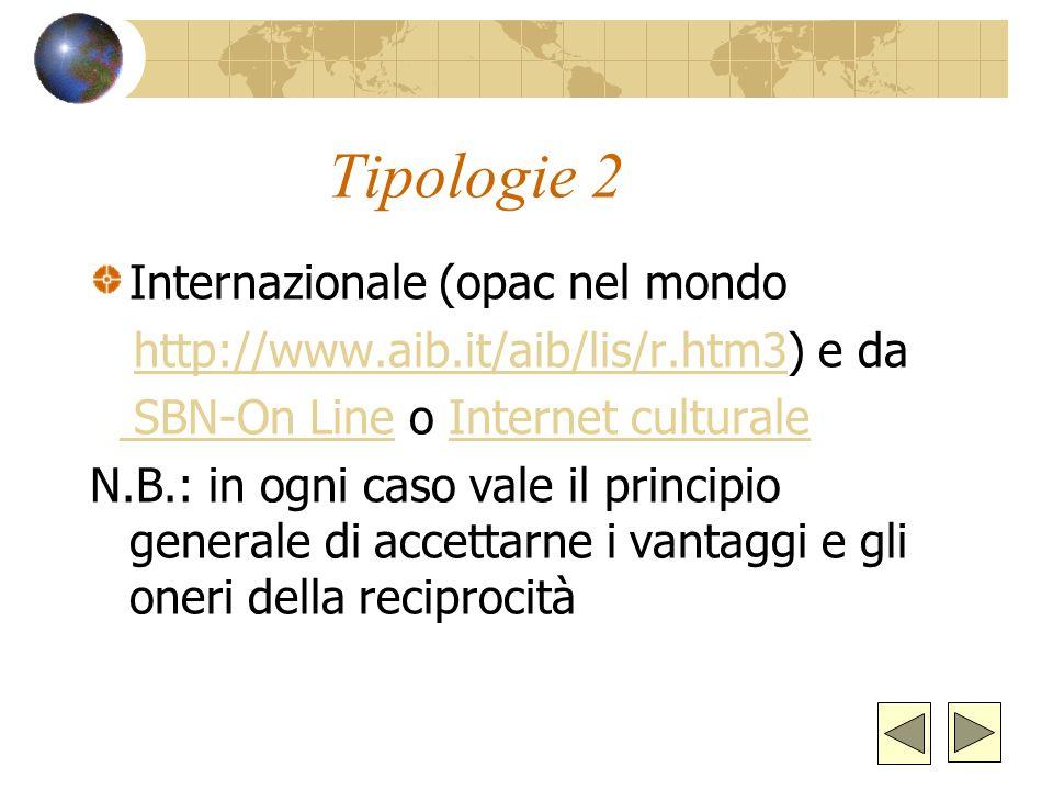 Tipologie 2 Internazionale (opac nel mondo