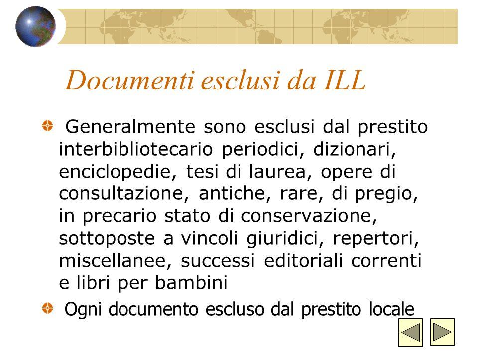 Documenti esclusi da ILL