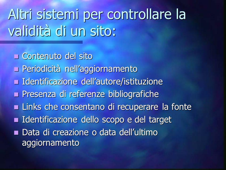 Altri sistemi per controllare la validità di un sito: