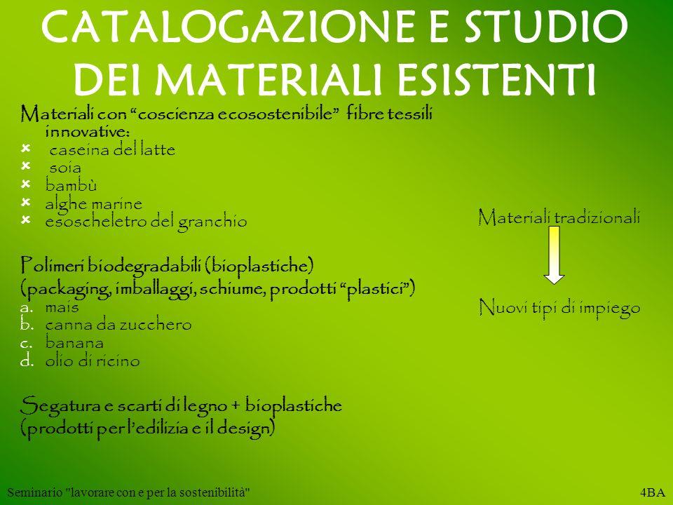 CATALOGAZIONE E STUDIO DEI MATERIALI ESISTENTI