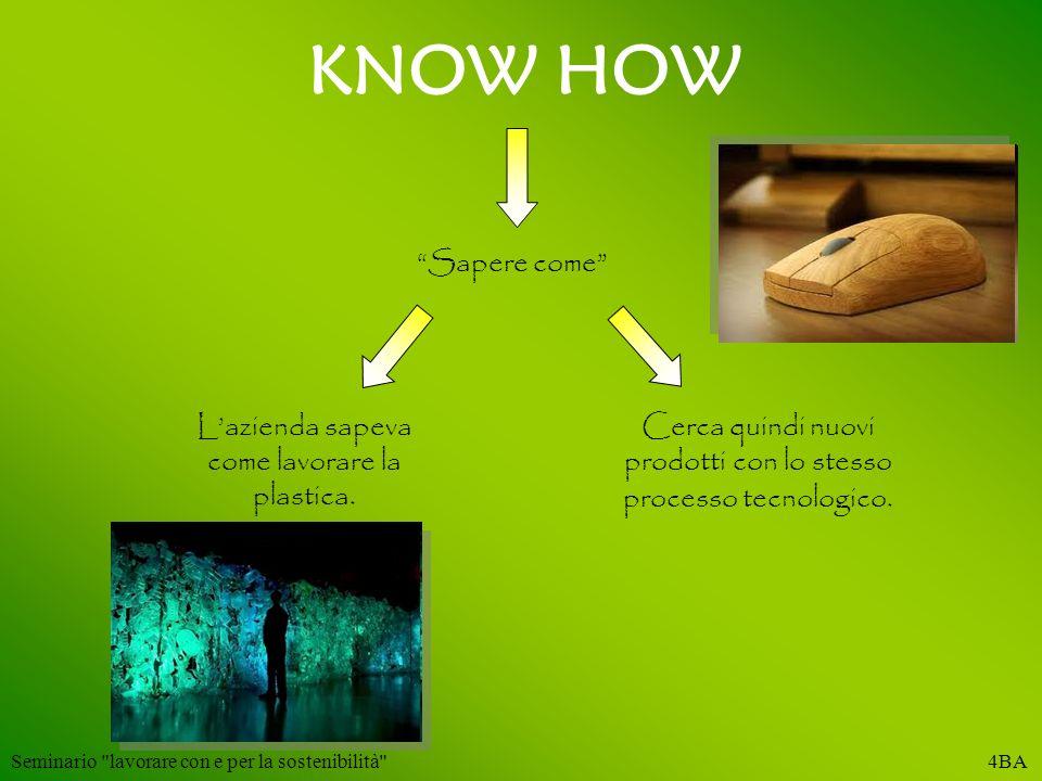 KNOW HOW Sapere come L'azienda sapeva come lavorare la plastica.