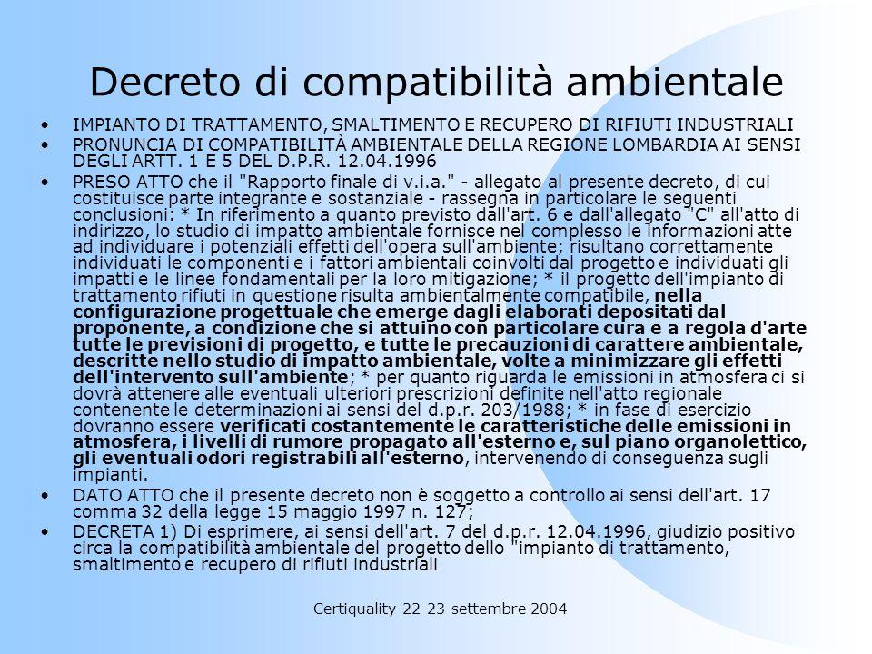 Decreto di compatibilità ambientale