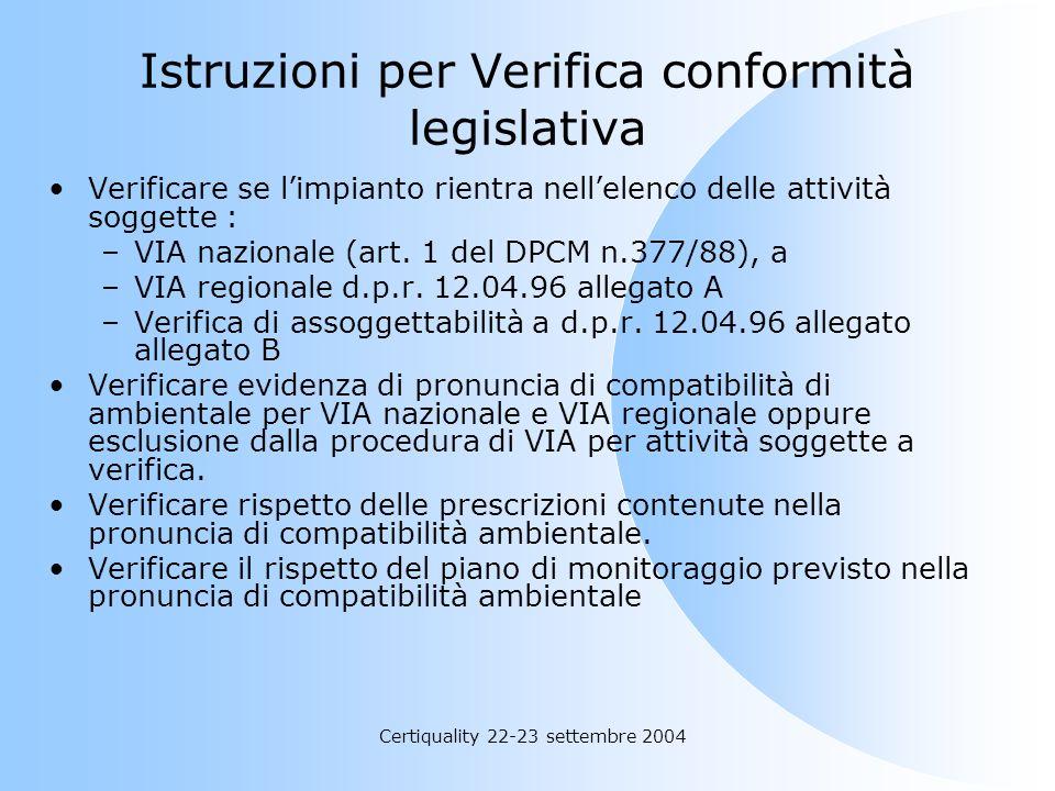 Istruzioni per Verifica conformità legislativa
