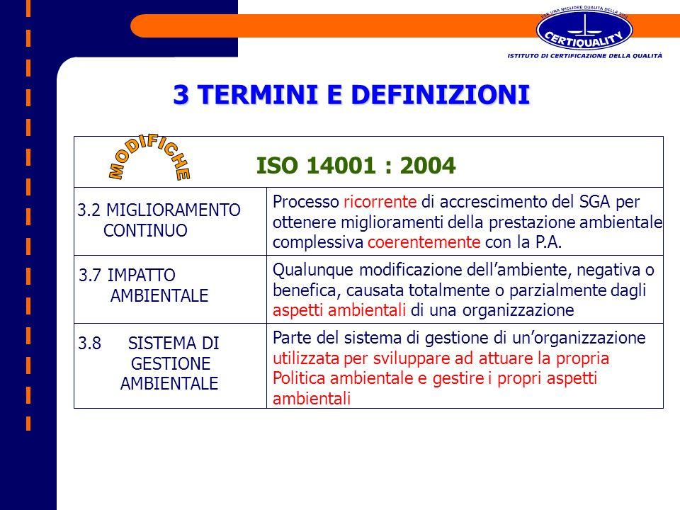 3 TERMINI E DEFINIZIONI ISO 14001 : 2004 MODIFICHE
