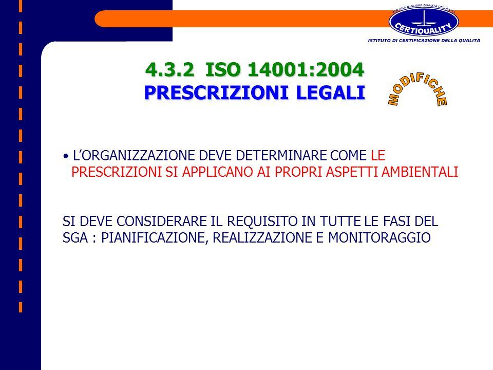 4.3.2 ISO 14001:2004 PRESCRIZIONI LEGALI