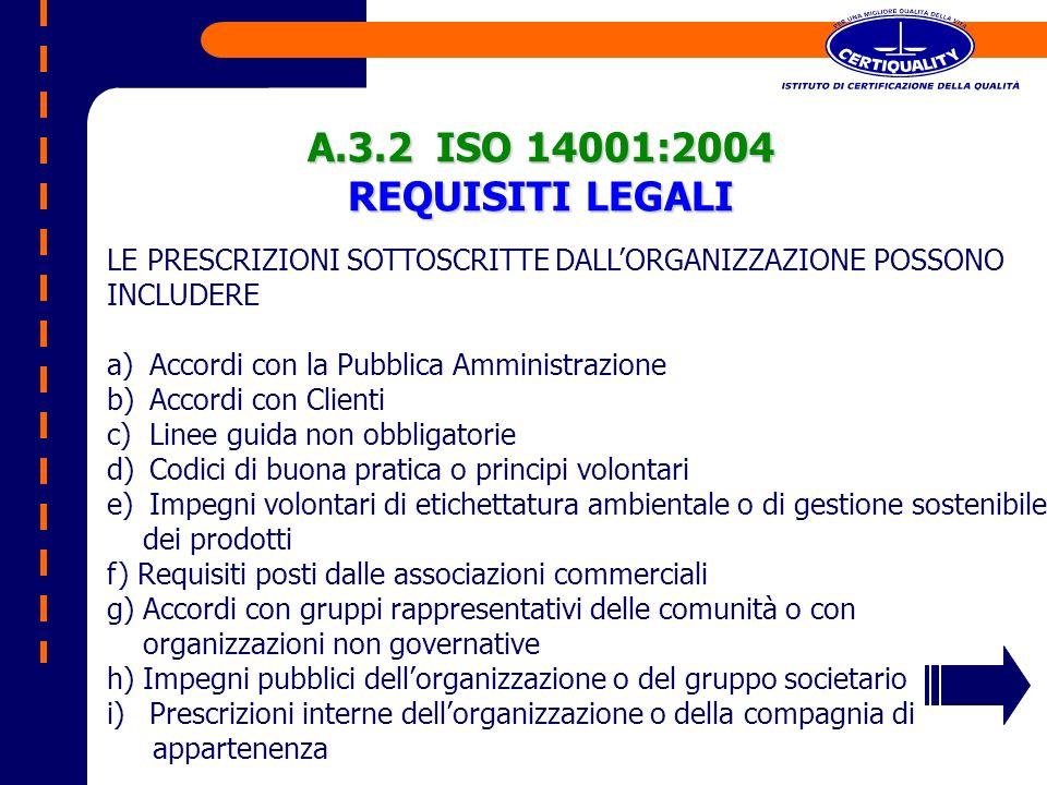 A.3.2 ISO 14001:2004 REQUISITI LEGALI