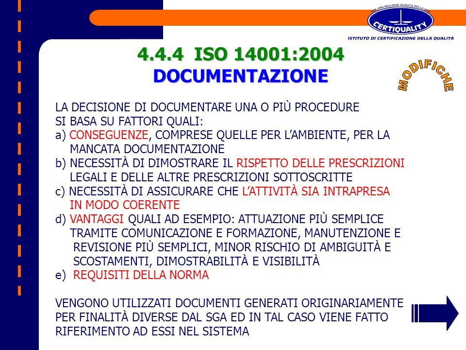 4.4.4 ISO 14001:2004 DOCUMENTAZIONE MODIFICHE
