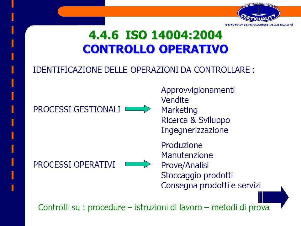 4.4.6 ISO 14004:2004 CONTROLLO OPERATIVO