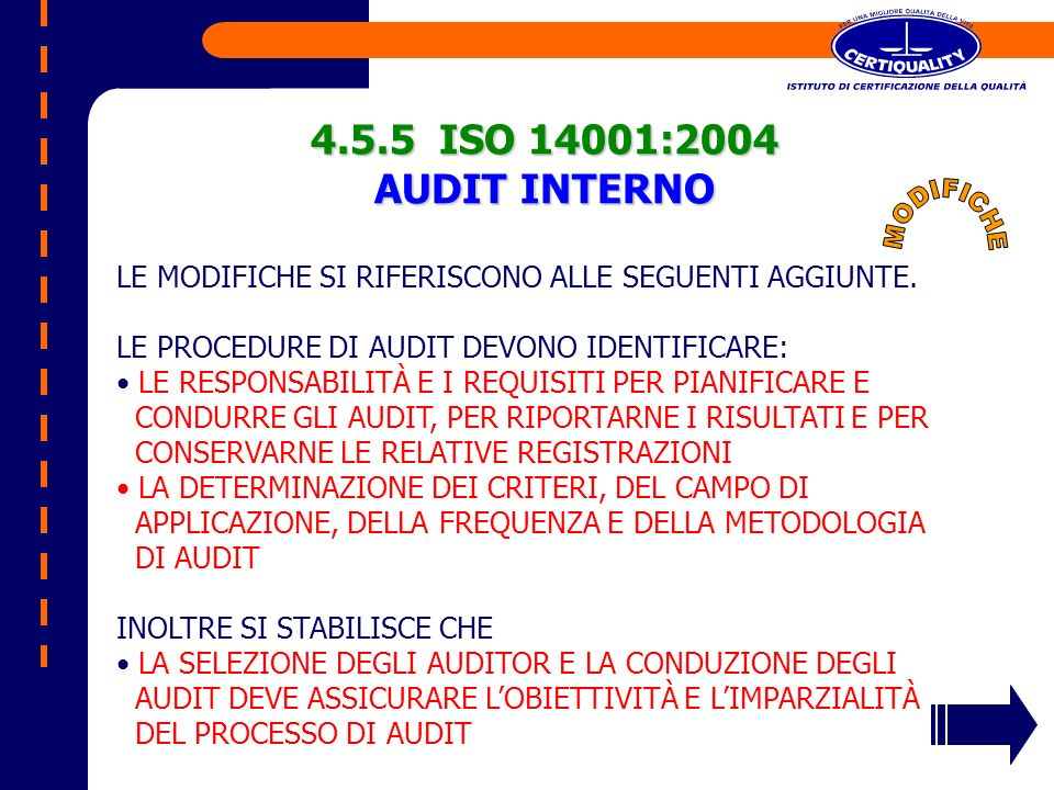 4.5.5 ISO 14001:2004 AUDIT INTERNO MODIFICHE