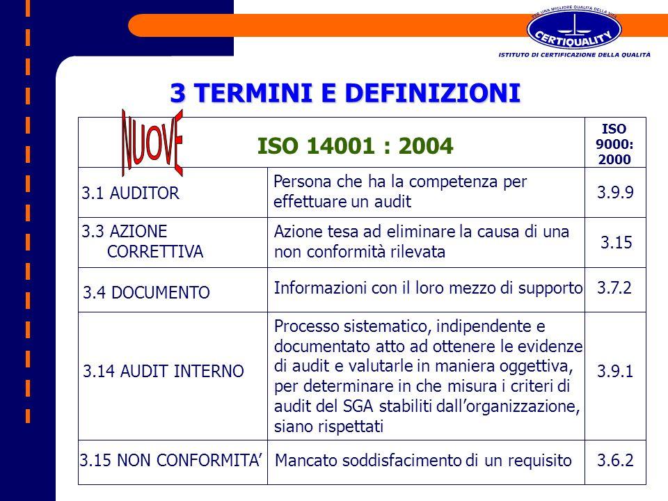 3 TERMINI E DEFINIZIONI ISO 14001 : 2004 NUOVE 3.1 AUDITOR