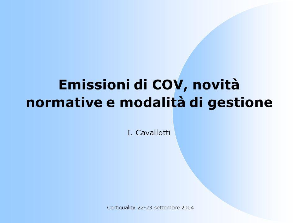 Emissioni di COV, novità normative e modalità di gestione