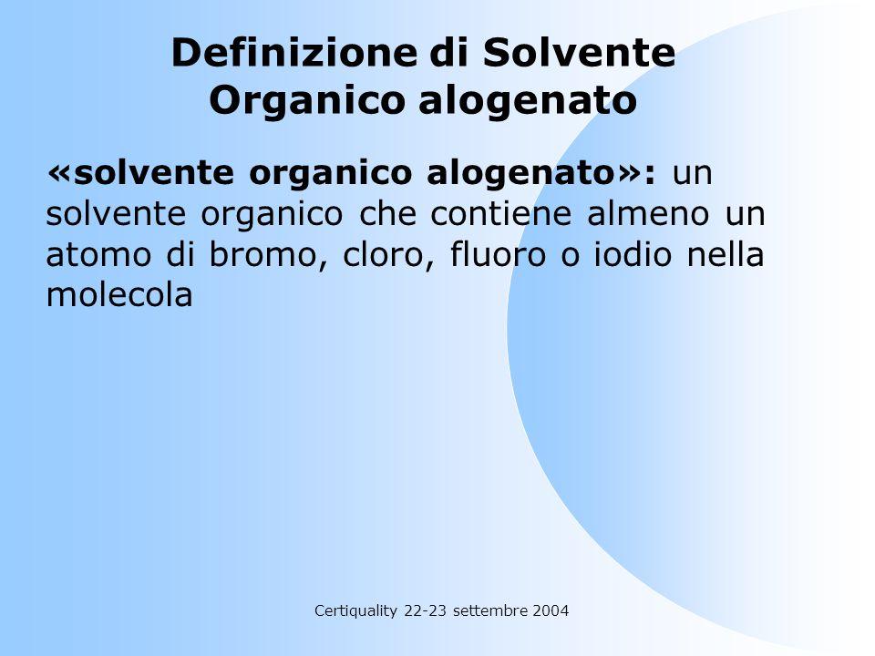 Definizione di Solvente Organico alogenato