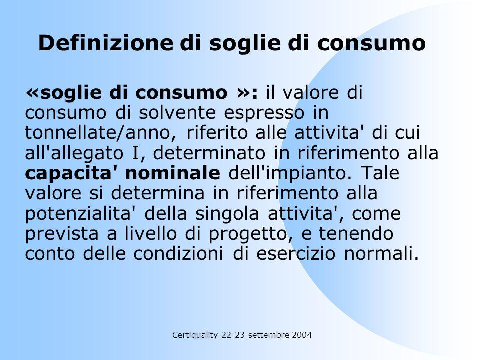 Definizione di soglie di consumo