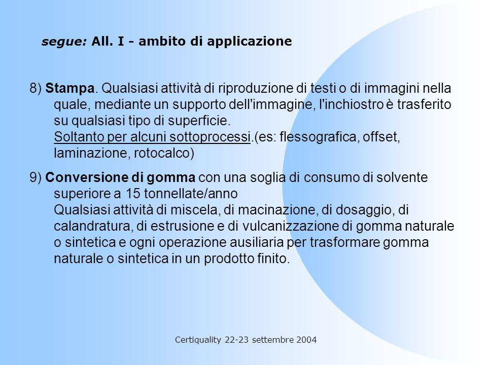 segue: All. I - ambito di applicazione