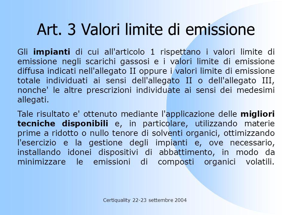 Art. 3 Valori limite di emissione