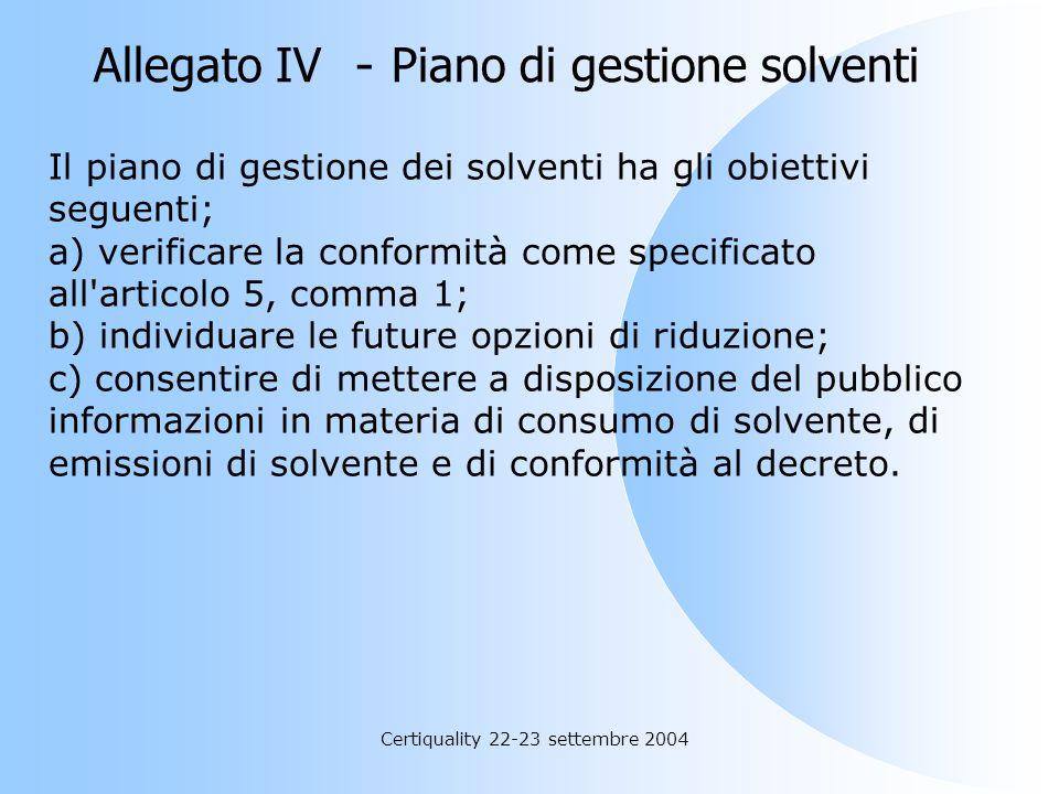 Allegato IV - Piano di gestione solventi