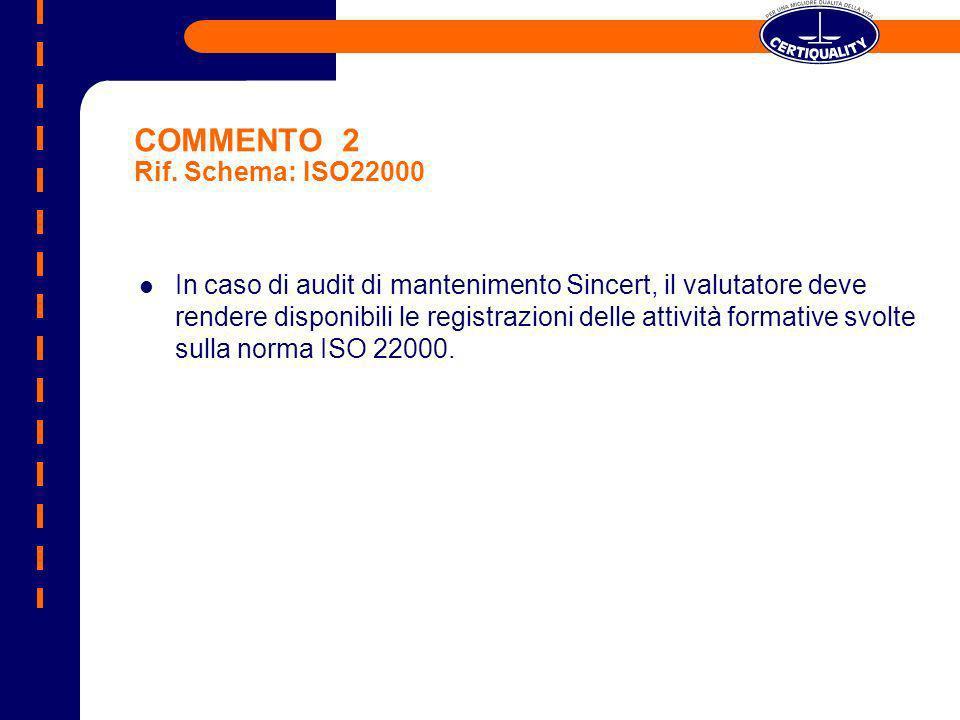 COMMENTO 2 Rif. Schema: ISO22000