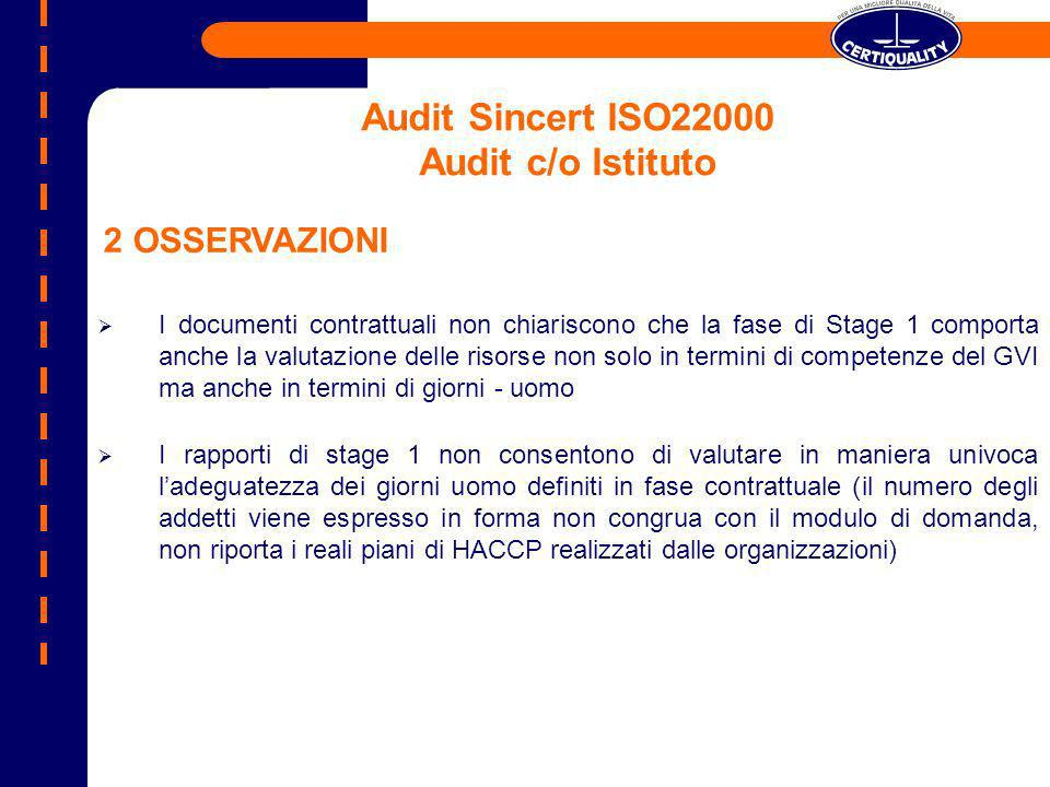 Audit Sincert ISO22000 Audit c/o Istituto