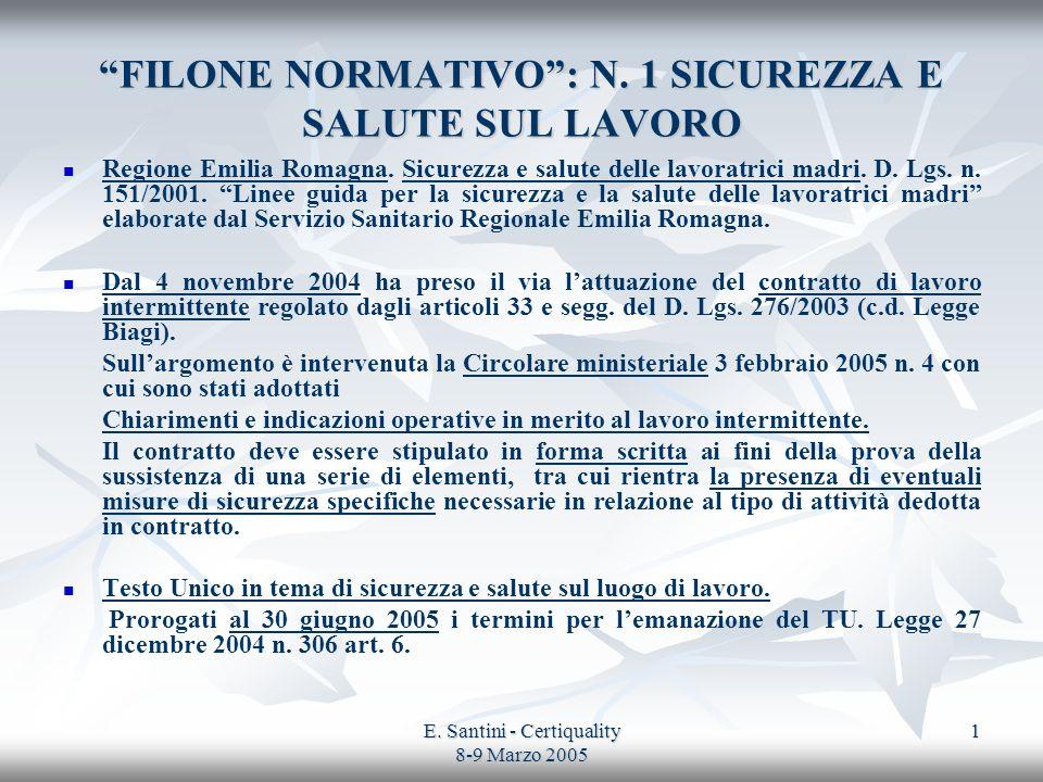 FILONE NORMATIVO : N. 1 SICUREZZA E SALUTE SUL LAVORO