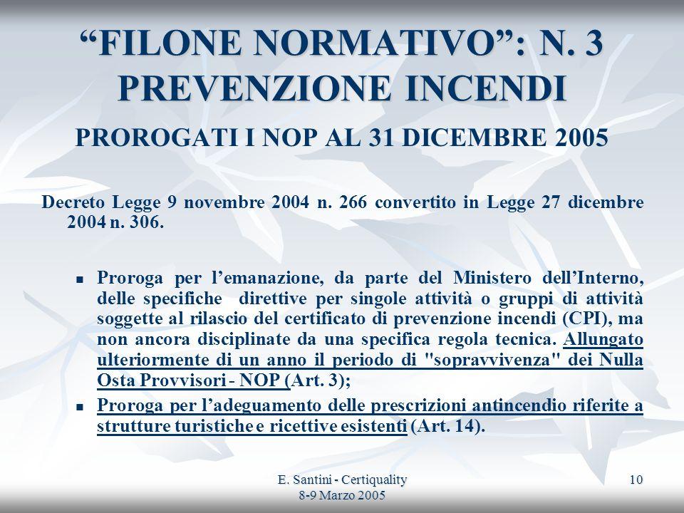 FILONE NORMATIVO : N. 3 PREVENZIONE INCENDI