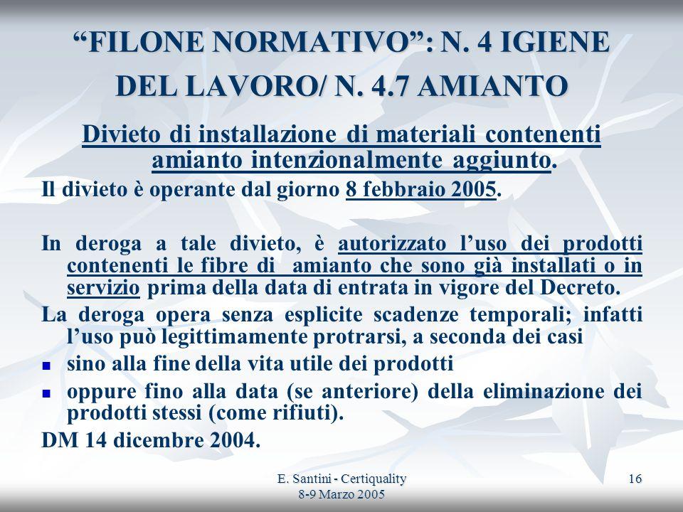 FILONE NORMATIVO : N. 4 IGIENE DEL LAVORO/ N. 4.7 AMIANTO