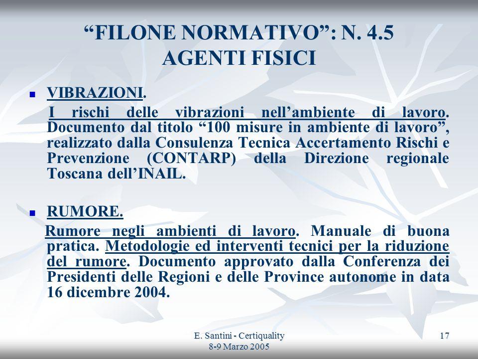 FILONE NORMATIVO : N. 4.5 AGENTI FISICI