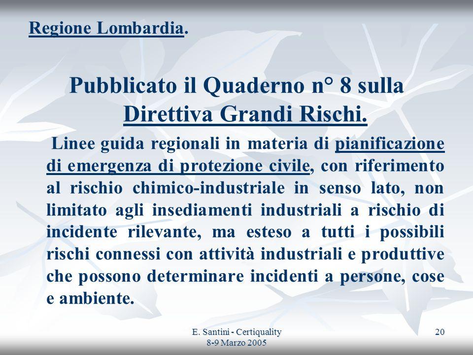 Pubblicato il Quaderno n° 8 sulla Direttiva Grandi Rischi.