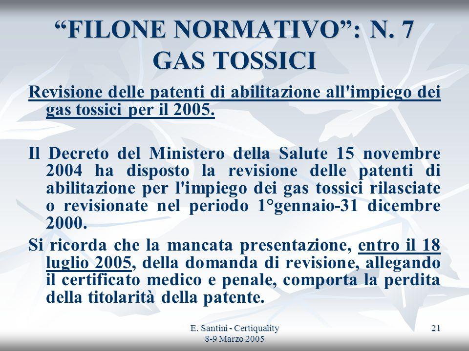 FILONE NORMATIVO : N. 7 GAS TOSSICI