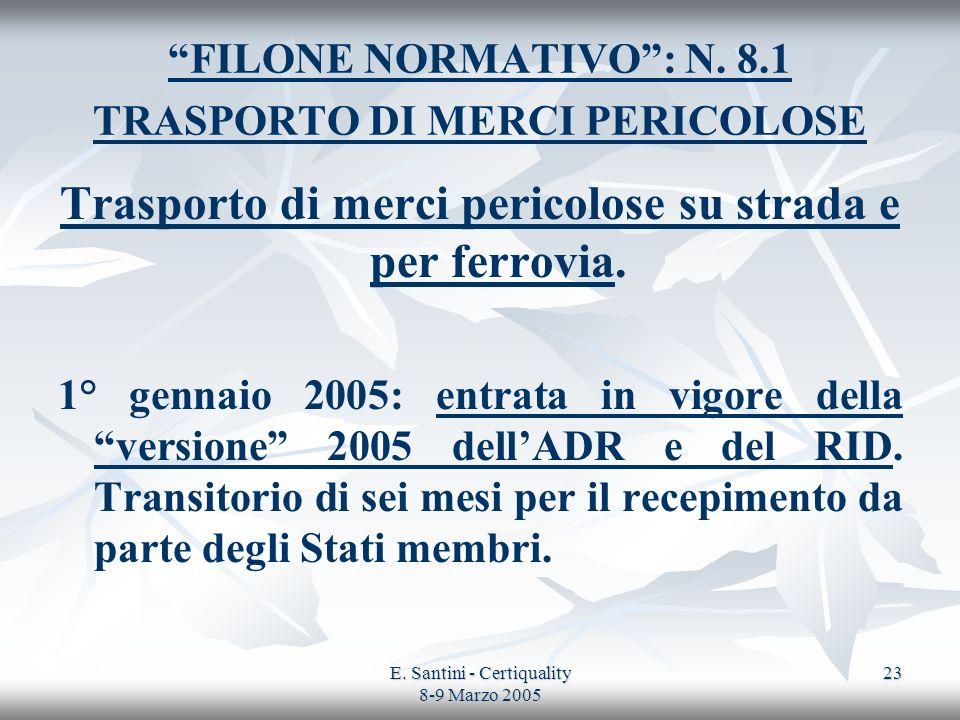 FILONE NORMATIVO : N. 8.1 TRASPORTO DI MERCI PERICOLOSE