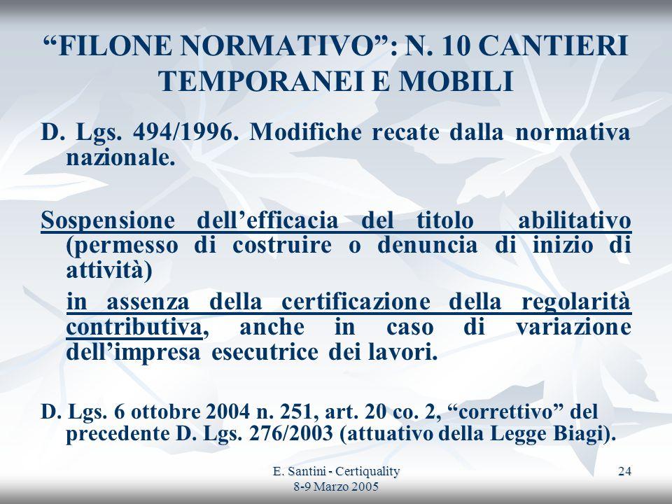 FILONE NORMATIVO : N. 10 CANTIERI TEMPORANEI E MOBILI
