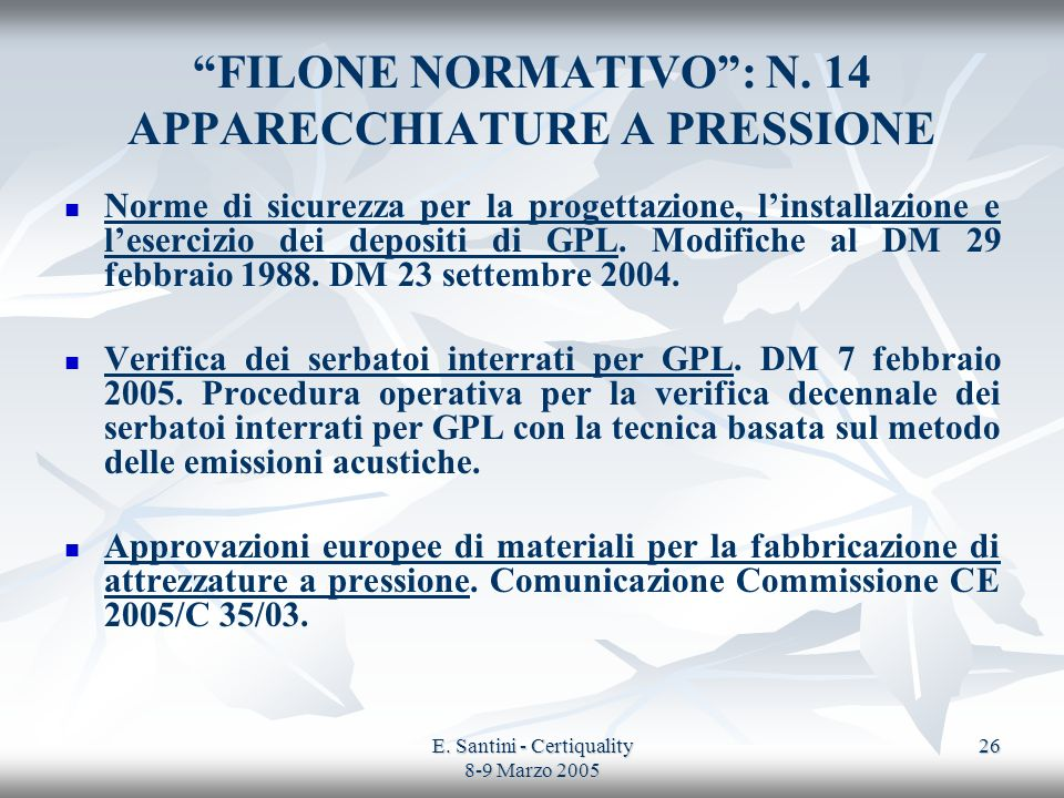 FILONE NORMATIVO : N. 14 APPARECCHIATURE A PRESSIONE
