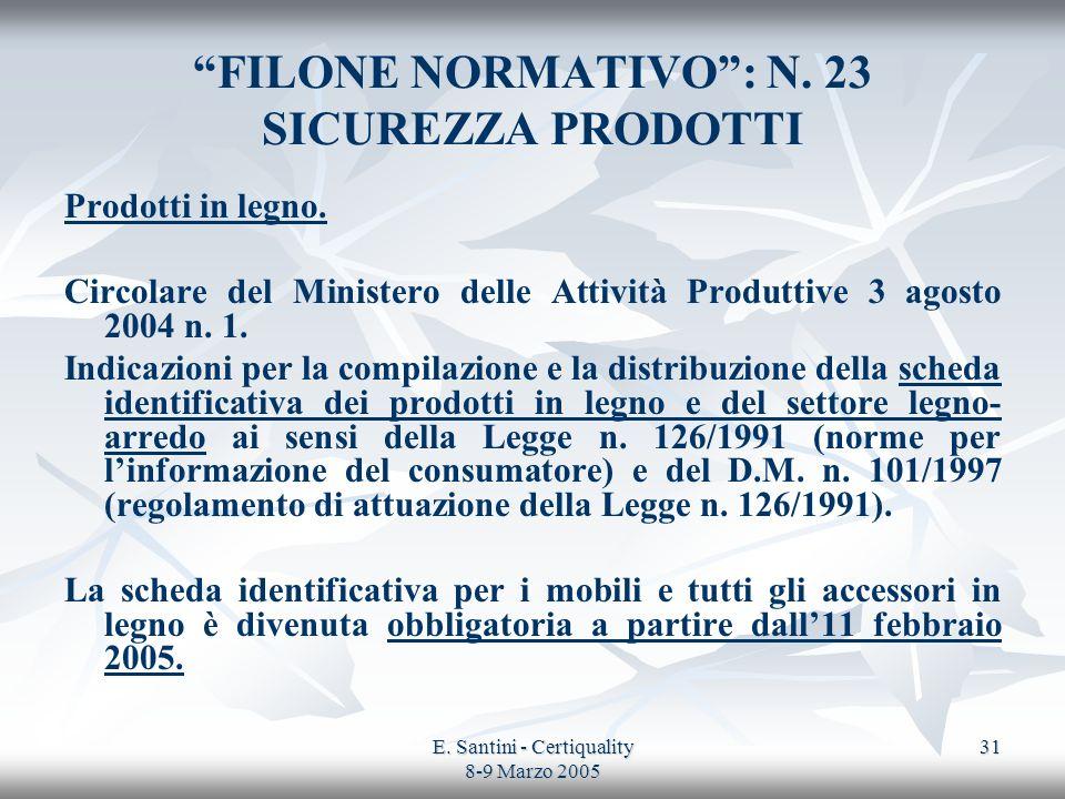 FILONE NORMATIVO : N. 23 SICUREZZA PRODOTTI