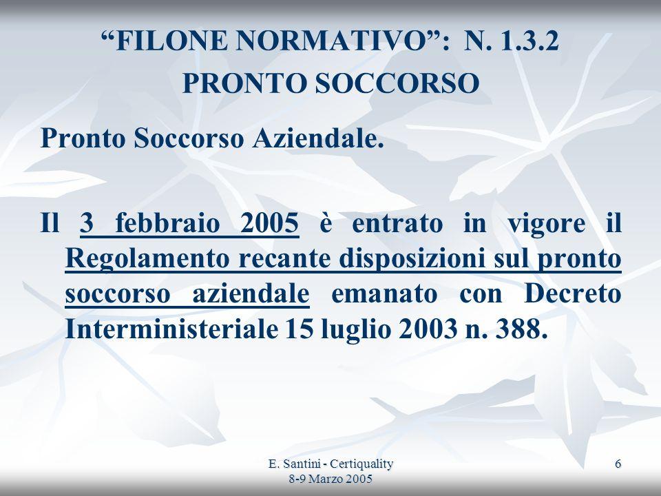FILONE NORMATIVO : N. 1.3.2 PRONTO SOCCORSO